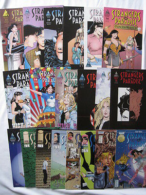 STRANGERS IN PARADISE #s 1-21 (except 16) by TERRY MOORE. HOMAGE / ABSTRACT.1996