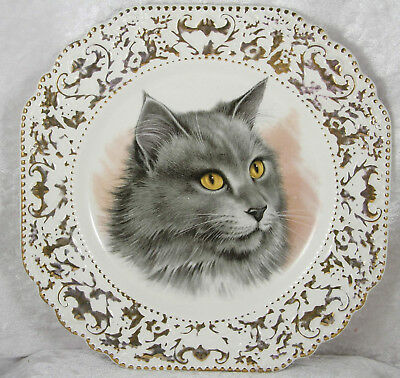 "Lord Nelson Pottery England long haired grey blue cat sandwich plate 8.5"" acros"