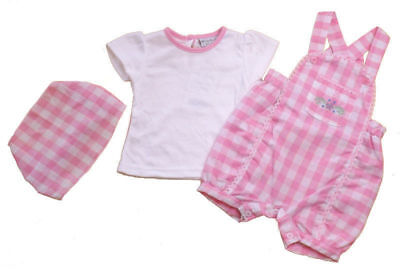 Baby girls Spanish style 3 piece gingham dungarees outfit 0-3 months BNWT