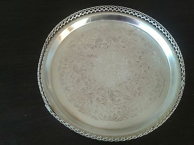 "Antique SILVER PLATED MAYELL EP ON STEEL 9"" - 3 FOOTED TRAY (0960) - early 1990s"