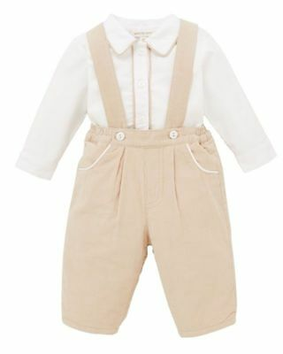Mintini Baby Boys camel winter braces trousers & shirt outfit 3 months BNWT