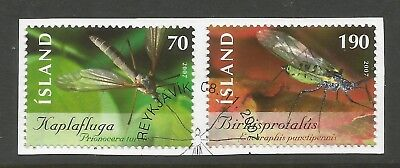 ICELAND 2007 INSECTS (2) ON A PIECE, SCOTT 1171-1172, USED (o)