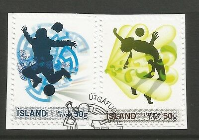 ICELAND 2010  PERSONALISED STAMPS (2) ON A PIECE, SCOTT 1261-1262, USED (o)