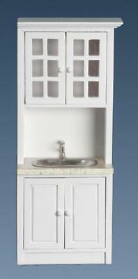 Dolls House Sink Unit White Marble Modern Fitted Kitchen Furniture 1:12 Scale
