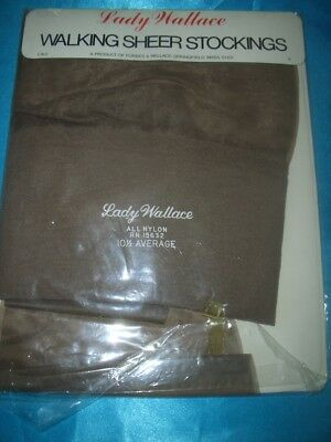 Echte VINTAGE US Lady Wallace Nylons Nylonstrümpfe Gr. 10,5 taupe Stockings OVP
