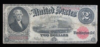 1917 LARGE SIZE $2 RED SEAL LEGAL TENDER UNITED STATES NOTE * US Paper Money