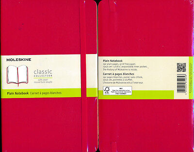Moleskine Scarlet Red Large Plain softcover Notebook NEW