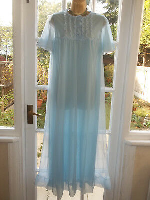 """Vintage 60s/70s Double Layer Frilly Nylon Nightie Nightdress Gown 38"""" Tall Girl"""