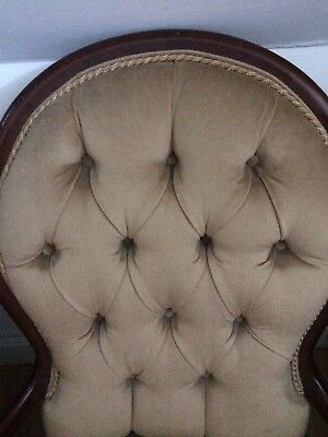 French Louis style Shabby Chic Chair dark wood mahogany type wooden frame