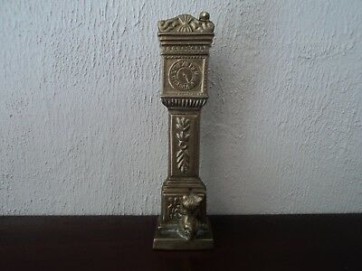 Vintage Quirky Brass Cast Grandfather Clock,cat And Mouse - Desk Top Display.