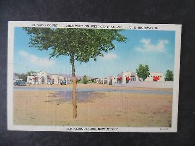 ca1950 Albuquerque New Mexico El Vado Court Route 66 Motel Postcard