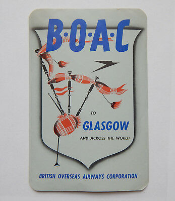 Vintage BOAC to Glasgow Scotland Airline Luggage Label (1950s)