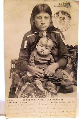 1906 Postcard Osage Indian Squaw & Papoose