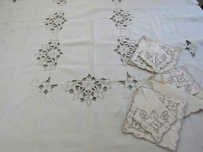 Vintage Embroidered CUTWORK Linen Tablecloth Set w/ 8 Napkins TAUPE & IVORY