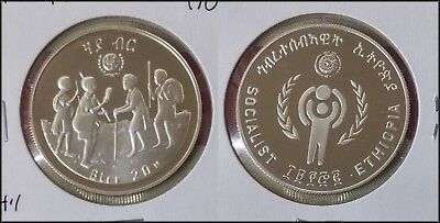 1980 Ethiopia 20 Birr Year of the Child  Large Silver Coin Proof RARE