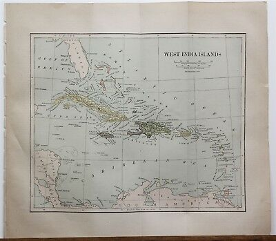 Original 1887 Map West India Indies Islands Chambers's Encyclopedia