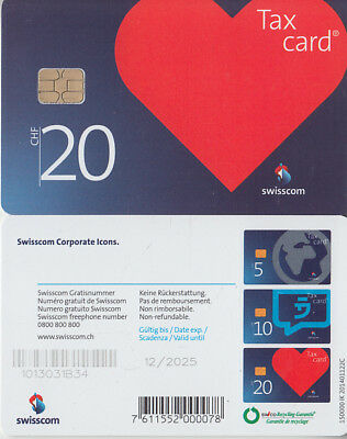 SUISSE - PHONE CARD - TAXCARD SUISSE * NEW *** CORPORATE ICONS - 20 Chf ***