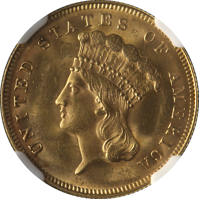 1878 Indian Princess Gold $3 NGC MS63 Great Eye Appeal Fantastic Luster