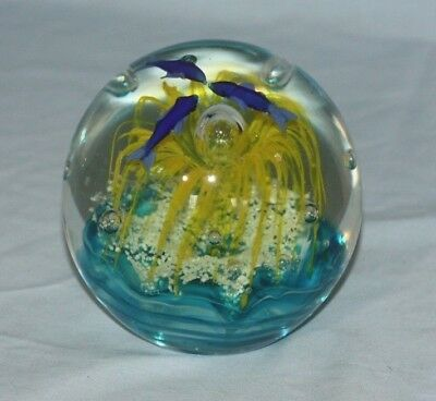 Blown Art Glass Ocean Coral Paperweight
