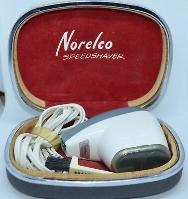 Vintage Norelco Speedshaver White Electric Razor Cord Case Brush Works Holland