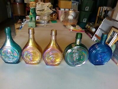 "Wheaton glass bottles, "" Great American Series "" . 5 Bottles,various colors."