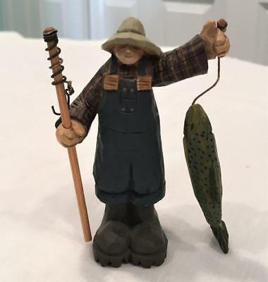1998 Williraye Studio Farmhouse Folk Art WW2731 Fisherman w/ Fish & Pole