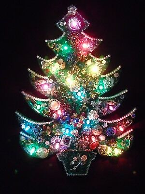 Vintage Rhinestone Costume Jewelry Christmas Tree Framed Lighted