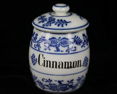 Antique Late 1800s German Porcelain Blue Onion Cinnamon Spice Jar  Flow Blue