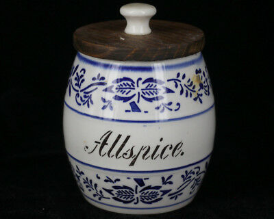 Antique Late 1800s German Porcelain Blue Onion AllSpice Spice Jar G.M.T & Bro