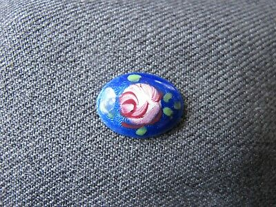 Vintage rose flower blue enamel metal dome cabochon cab jewelry making   #2