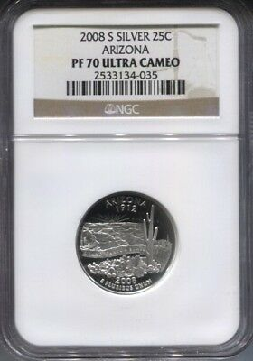 2008 S Ngc Pf 70 Ultra Cameo Silver Arizona  Quarter