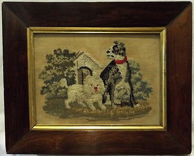 SMALL MID/LATE 19TH CENTURY NEEDLEPOINT OF TWO DOGS OUTSIDE THEIR KENNEL c.1870