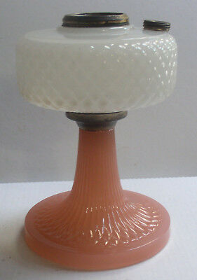 Original Aladdin 1937 White & Rose Moonstone Diamond Quilt Kerosene Oil Lamp B-9