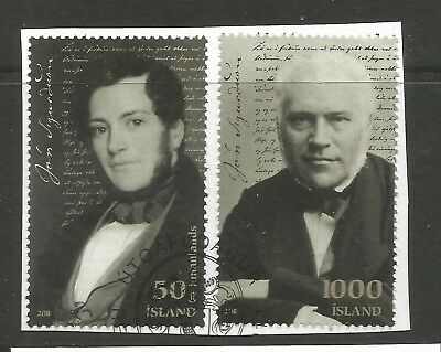 ICELAND 2011 200th ANNIV OF J.SIGURSSON ON A PIECE, SCOTT 1304, 1306, USED (o)