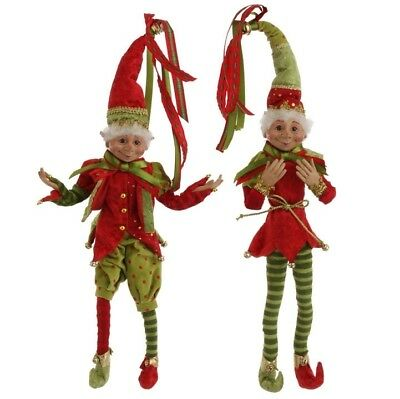 RAZ Imports 20 Inch Posable Elves Elf Set/2 Red Green Christmas NEW! Free Ship!
