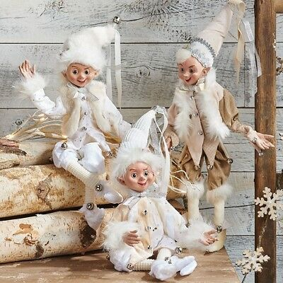 "RAZ Imports 19"" Posable Elves Elf Set/3 White Fur Decor Ornaments Christmas NEW!"