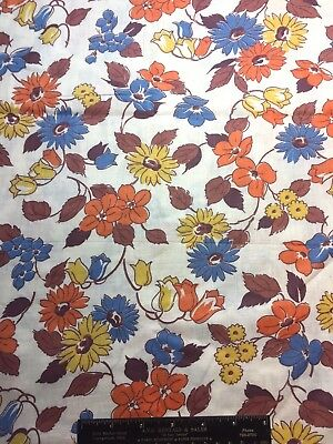 Vintage Cotton Fabric 30s40s SWEET Lil Blue Orange & Yellow Floral 35w 1yd