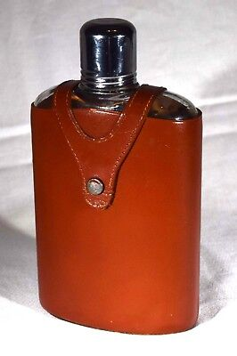 Standard 12 oz. Glass Hip Flask with Genuine Cowhide Leather Cover