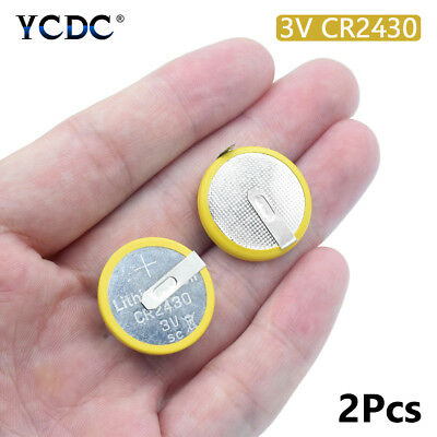 3v cr2430 button battery coin cell with 2 mounting pins/tabs single use 2pcs 58