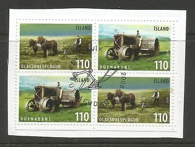ICELAND 2008 OLD AGRICULTURAL TOOLS (2) x2 ON A PIECE, SCOTT 1188-1189, USED (o)