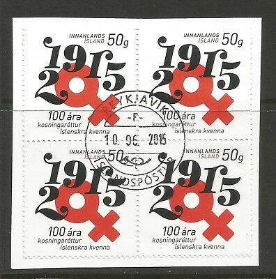 ICELAND 2015 100th ANNIV OF WOMEN'S SUFFRAGE x 4 ON A PIECE,SCOTT 1442, USED (o)