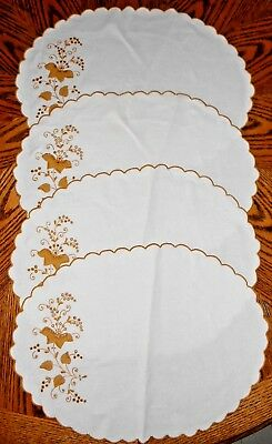 4 Vintage Hand appliqued Gold Floral Embroidered Scalloped Oval Linen Placemats