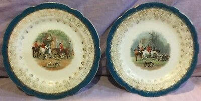 Fox Hunt Hunting Pair Of Plates Imperial Crown China