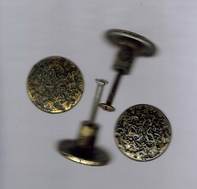 "Set Of 4 Vintage Metal Door Drawer Knobs Pulls 1 1/4"" Diameter With Screws"