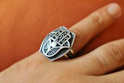 Antique Egyptian Silver Ring Band Adjustable Hamsa Hand Ring, Protection_STAMPED