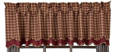 Country Primitive Burgundy Check Scalloped Layered Valance Rustic Check