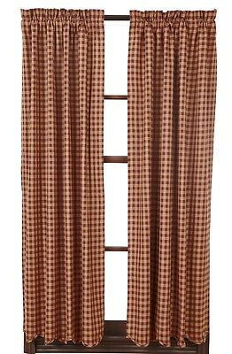 "Primitive Country Curtains Burgundy Scalloped Panels 63"" Rustic Check Farmhouse"