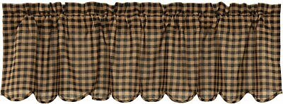 Country Primitive Black Check Scalloped Valance Rustic Farmhouse Curtains