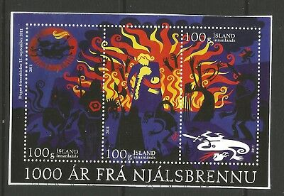 ICELAND 2011 STAMP DAY (3) ON A PIECE, SCOTT 1312-1314, USED (o)