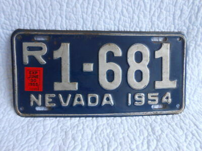 1954 Nevada LICENSE PLATE Navy Blue with Silver R1-681 RatPack (1955 first year)